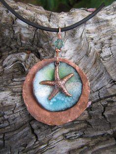 Enamel Jewelry Copper Jewelry Ocean Stacked Circle by Gasquetgirl, $32.00