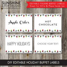 instant download editable christmas holiday lights folding buffet labels food tags place cards