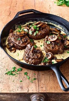 In Ina Garten's tasty recipe, wild mushrooms and a creamy mustard sauce dress up filet mignon steaks for a luxurious dinner. Ina Garten's Filet Mignon with Mustard and Mushrooms Beef Recipes, Cooking Recipes, Healthy Recipes, Recipies, French Food Recipes, Healthy Junk, Drink Recipes, Fall Recipes, Healthy Food