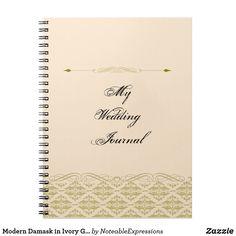 Modern Damask in Ivory Gold Wedding Journal
