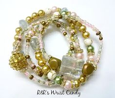 Tea Party Beaded Bracelet Set by RandRsWristCandy on Etsy, $10.00