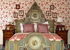 Room of the Day ~ exuberant floral bedroom with geometric quilt and elegant painted bed - Anthony Baratta design 9.20.2014