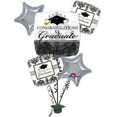 Congratulations Graduate Black & White Damask Bouquet Grad Foil Balloons – Pk Of 5: Graduation Gift