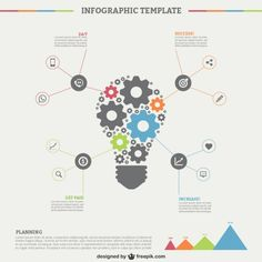 Infographic Template with Light Bulb Free Vector
