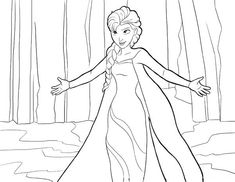 Elsa-the-Snow-Queen-Giving-Hug-Coloring-Page Coloring Page