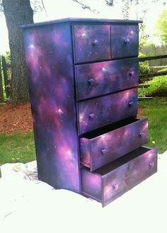 Galaxy Dresser by BriannaVee - Galaxis Galaxy Decor, Galaxy Theme, Baby Room Decor, Bedroom Decor, Bedroom Colors, Purple Bedrooms, Bedroom Themes, Master Bedroom, Diy Galaxie
