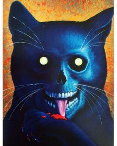 The Black Cat by Don Ivan Punchatz, 1978 😱😼 Deer Skulls, Cow Skull, Skull Art, Dark Gothic, Cheshire Cat Art, Candy Skulls, Punk, Wow Art, Skull Tattoos