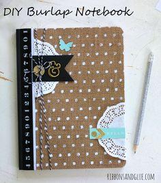 DIY Burlap Notebook made with @pebblesinc Home + Made