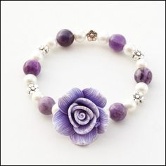 Flower Girl Wedding Polymer Clay Glass Beads Bracelet White Purple Stone Glass Beads Childs Bracelet. $7.50, via Etsy.