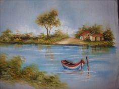 pintura molhada Boat Painting, Fabric Painting, Mason Jar Art, Krishna Painting, Pintura Country, Modern Landscaping, Landscape Paintings, Canvas Wall Art, Watercolor Art