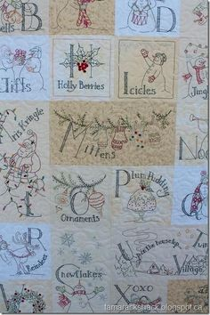Winter quilt embroidery Snowman A to Zzzz by Crabapple Hill Designs...