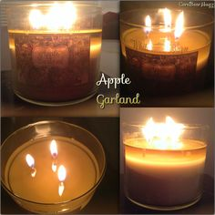 Bath and Body Works (Winter 2013) Apple Garland 3-Wick candle 1st burn (2hrs) has big flames, but barely any scent throw, even in my small bedroom.