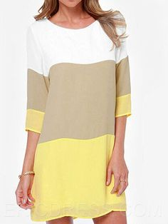 Ericdress Color Block Casual Dress Casual Dresses