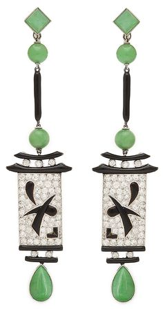 Art Deco jade, diamond, onyx and black enamel dangling Chinese lantern style earrings, mounted in platinum, French, circa 1920.
