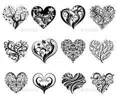 Tattoo Hearts — JPG Image #ethnic #scroll • Available here → https://graphicriver.net/item/tattoo-hearts/10017456?ref=pxcr