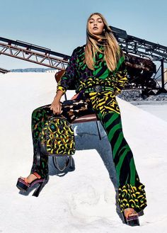See Gigi Hadid in the Versace SS16 Ad Campaign. The 20 Year Old Top Model Heats things Up Alongside Natasha Poly and Raquel Zimmerman Atop the Salt Mines...