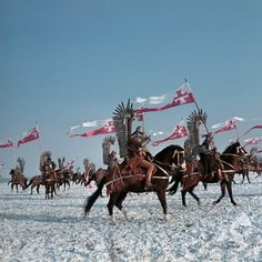 "Polish Hussars: set of ""Pan Wołodyjowski"" (""Colonel Wolodyjowski""), 1969 Polish historical drama set in the 17th-century Poland [source: Fototeka Filmoteki Narodowej]."