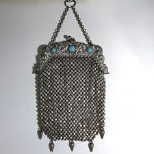 Vintage Antique Mesh Purse German Liver Triple Plate with Stoes Jewelled Frame