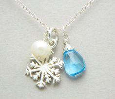 Christmas Jewelry, Snowflake Necklace, Winter Wedding Jewelry, Christmas Gift, Bridesmaid Necklace, Bridesmaid Jewelry. $38.00, via Etsy.