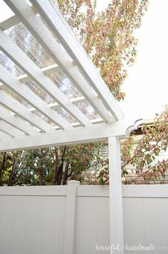 Turn your patio pergola into a three season porch with a new roof! Adding a clear pergola roof is the perfect weekend DIY. See how easy it is at Housefulofhandmade.com. Pergola Metal, Pergola Canopy, Deck With Pergola, Cheap Pergola, Wooden Pergola, Covered Pergola, Backyard Pergola, Pergola Shade, Patio Roof