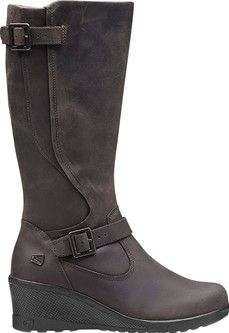 The Keen of Scots is a tall leather boot dressed up with a wedge heel.
