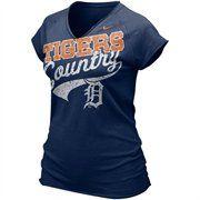 Nike Detroit Tigers Ladies Navy Blue Bases Loaded V-neck T-shirt