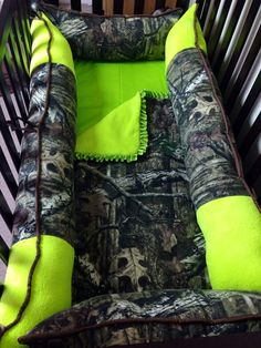 Mossy Oak Infinity Camo With Lime Green Minky
