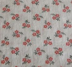 Darling sweet petite small scale French floral cotton from about the 1930's. Lovely petite calico type floral in red and black on an old white ground. This is somewhat lighter in wight and excellent for period doll dressing, patchwork and an abundance of period projects. | eBay!