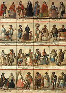 Anonymous - Las Castas (late eighteenth century)  This image gives an account of 16 of the 53 different names that the Spanish-speaking elite of colonial Mexico gave for the various racial intermixtures.