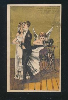 Victorian-trade-card-Singer-Sewing-Machine-BRIDE-GROOM-sewn-together