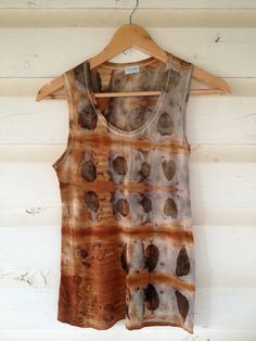 Merino Wool Singlet T Shirt Thermal Layer Eucalyptus Leaf Dyed Red Black Brown SMALL