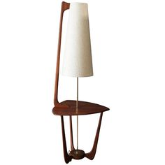 Mid-Century Modern Walnut Floor Lamp with Side Table | From a unique collection of antique and modern floor lamps  at http://www.1stdibs.com/furniture/lighting/floor-lamps/
