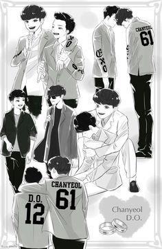 Happy virus' love Chanyeol, Kyungsoo, Deadpool X Spiderman, Exo Anime, Exo Couple, Exo Fan Art, Kurotsuki, Kpop Drawings, Kpop Fanart