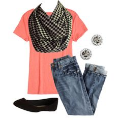 A fashion look from August 2014 featuring crew shirt, boyfriend fit jeans and dressy shoes. Browse and shop related looks. Infinity Scarf Outfits, Casual Clothes, Casual Outfits, Houndstooth, Moonlight, Fashion Inspiration, Black And White, Shoe Bag, Polyvore