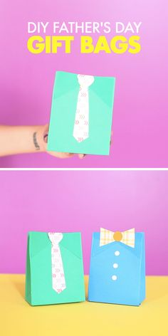 Time to DIY for Dad! The We R Memory Keepers Gift Bag Punch Board makes these cute & crafty Father's Day gift bags simple!