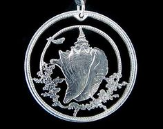 Cut Coin Jewelry - Bahamas - Conch Shell - Pendant