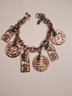 Vintage Asian Inspsired Gold Charm Bracelet Green Beads Costume Jewelry on Etsy, $8.20