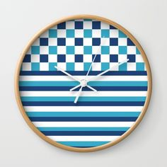 a #navy pattern wall clock, perfect for your #beach #house #society6 15% Off + Free Shipping on All Home Decor Today!