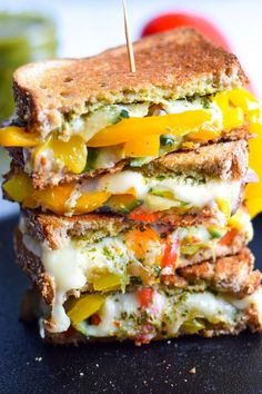 Made with sautéed vegetables, a cilantro parsley chimichurri spread and lots of melted cheese, this Mexican Fajita Grilled Cheese will leave you full and o