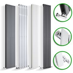 DESIGNER RADIATORS Vertical Flat Panel Tall Upright Columns Central Heating UK
