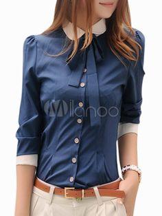 Damen Hemd aus Spandex mit Umlegekragen