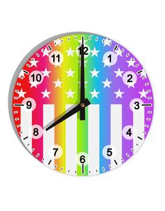 """American Pride - Rainbow Stars and Stripes 8"""" Round Wall Clock with Numbers All Over Print"""