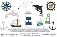 Candy Box Digital just released Nautical Clip Art w/ Vectors on Creative Market. Clipart graphics with that ocean flavor. Includes a lighthouse, dolphin, orca, seagull, a schooner and a sailboat, two anchors and a mariner's compass.