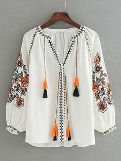 Flower Embroidery Tassel Tie Blouse SheIn(Sheinside) is part of Women shirts blouse - Kurta Designs, Blouse Designs, Boho Fashion, Fashion Dresses, Estilo Hippie, Bohemian Mode, Looks Chic, Embroidery Dress, Embroidery Shop