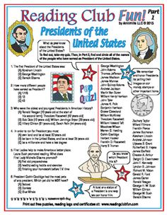 U.S.PRESIDENTS - Learn about different Presidents of the United States with this Quiz and Word Search Puzzle!