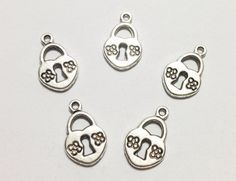 5 Pcs. Heart Padlock Charms, Heart Padlock Pendant, Padlock Charms, Silver Antique Charms, Necklace Jewelry Charms, Vintage Accessories on Etsy, $2.00