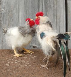 Day 11 Needle Felted White Rooster by SarafinaFiberArt on Etsy, $125.00