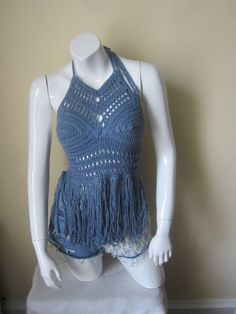 DENIM FRINGE HALTER top, Festival clothing, crochet halter fringe top, bikini cover, beachwear, summer top, gypsy, Boho chic, Cotton