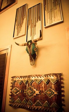 A Modern Twist In This Rustic Chic Home Trio Of 3 D Artwork With Multicolored Delicate Wood Strips Jeweled Cowskull And Metal Native American
