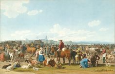 Albertina Museum Vienna - Livestock market outside the city of Konstanz on Lake Constance by Wilhelm Kobell Google Art Project, Livestock, Art Google, Cattle, Vienna, 19th Century, The Outsiders, Dolores Park, Museum